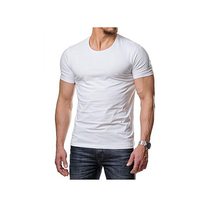 430d5a2c84de9 Generic T-shirts Demi Manche Blanc 100 % Coton à prix pas cher ...