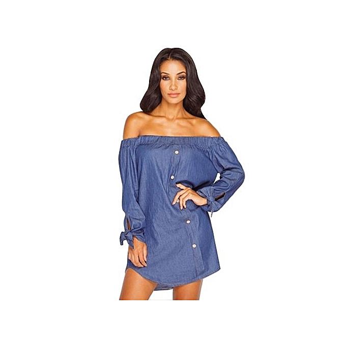 Generic HL Sexy Off The Shoulder Button Denim Blouse For femmes (Deep bleu) (S ) à prix pas cher