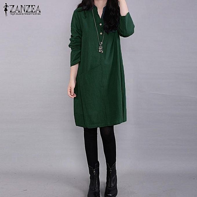 Zanzea ZANZEA femmes Plus - Mini robe à hommeches longues et col montant à prix pas cher