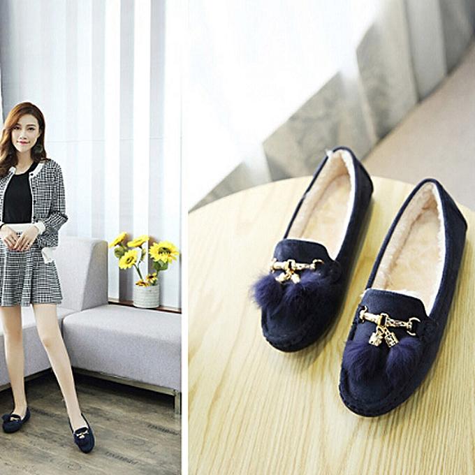 mode Hiamok_femmes Winter Tassel Flats chaussures Lady Décontracté Soft Pea chaussures bottes BU 40 à prix pas cher