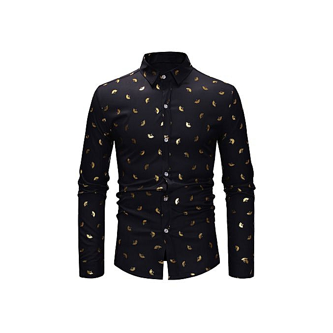 AFankara Gilding Floral Long Sleeve Slim Shirt - noir à prix pas cher