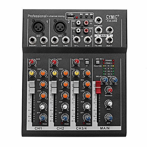 LEORY Mini Karaoke Audio Mixer Amplifier Professional Microphone Mixing  Sound Console 4 Channel With USB 48V Power