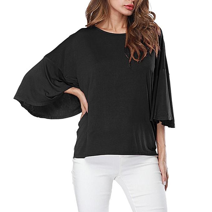 mode femmes O-Neck Ruffles Half sleeve Pure Couleur hauts  Loose T-Shirt chemisier à prix pas cher