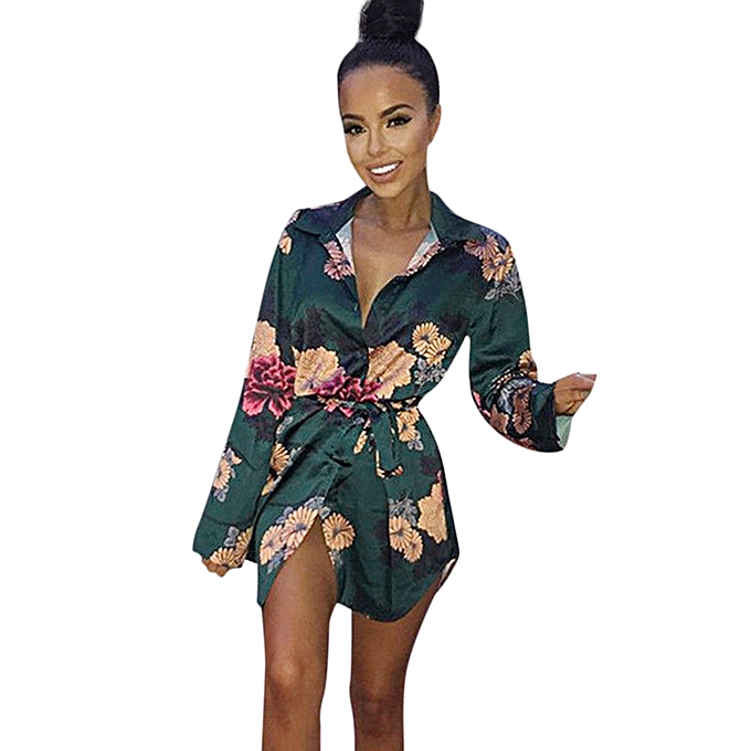 Fashion Tcetoctre Shop femmes Floral Print Satin Silk V-Neck T-Shirt Loose Blouse Ladies Dress GN L à prix pas cher