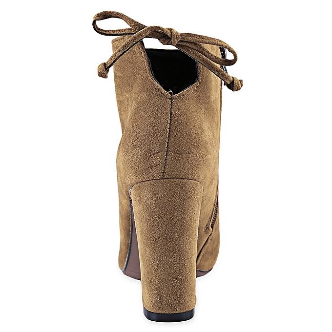 Fashion Stylish Zipper  Design  Zipper  Thick High Heel Boots-BROWN à prix pas cher  | Jumia Maroc e9b730