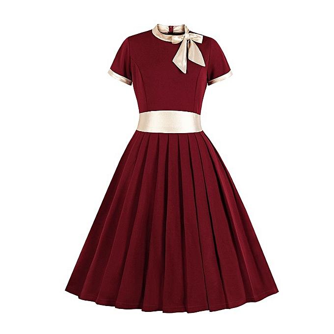 Fashion Short-sleeved dress for femmes - rouge à prix pas cher