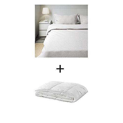 ikea housse de couette et 2 taies d 39 oreiller gris 240x220 50x60 cm couette legere pas cher. Black Bedroom Furniture Sets. Home Design Ideas