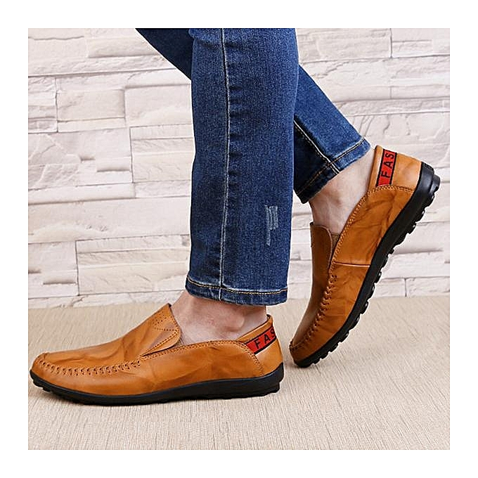 Fashion Fashion Big Big Big Size   Genuine Leather Comfortable Slip On Business Casual Flat Loafers Shoes-EU à prix pas cher  | Jumia Maroc 795b52