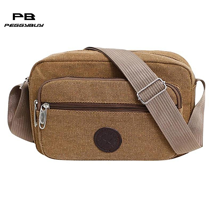 Other Casual Men Canvas Satchel Belt Shoulder Bag Male Sling Crossbody Bag Vintage Solid Zipper Men Messenger Bags Sac A Main Bolsas(Coffee) à prix pas cher