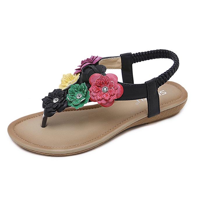 Fashion Ethnic female sandals bohemian flowers large Taille comfortable pinch beach chaussures à prix pas cher    Jumia Maroc