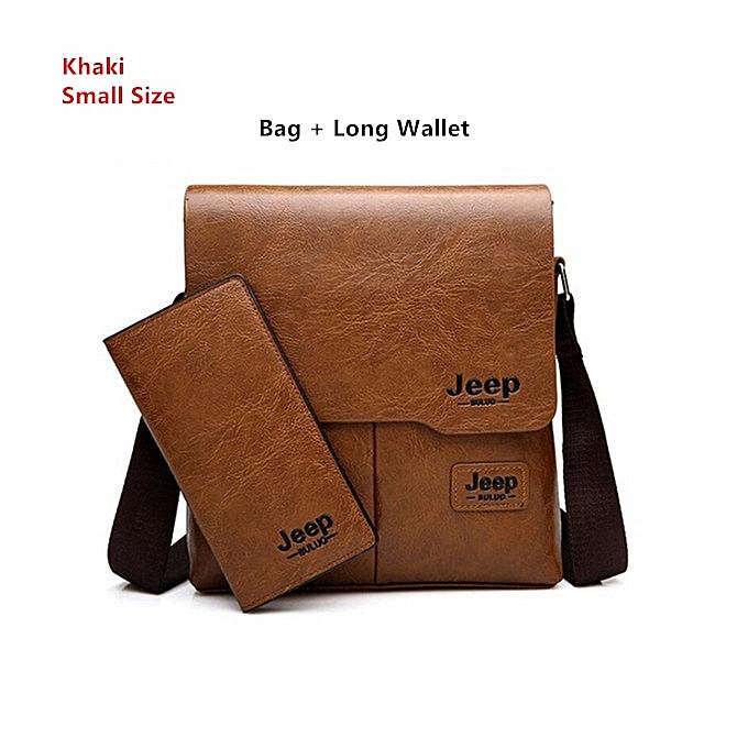 Fashion Men Tote Bags Set JEEP BULUO Famous  Fashion Man Leather Messenger Bag Male Cross Body Shoulder Business Bags For Men à prix pas cher