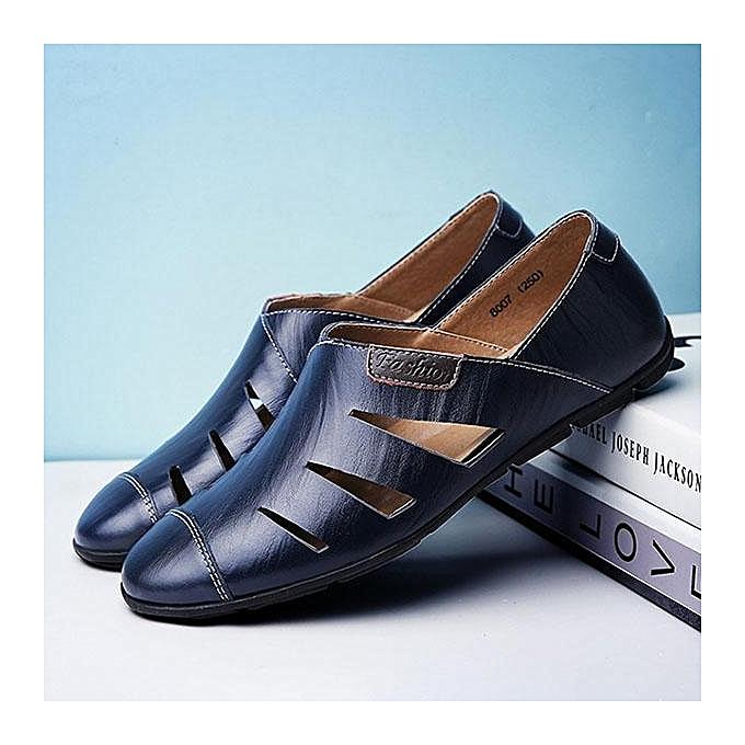 Fashion Fashion   Hole Breathable Leather Sandals Cap-toes  Slip On Casual Shoes-EU à prix pas cher  Cap-toes | Jumia Maroc fbb001