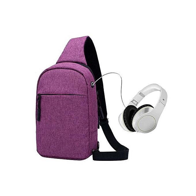 mode Singedannouveau Sports Hommes's Chest sac Leisure imperméable Shoulder Messenger sac -violet à prix pas cher
