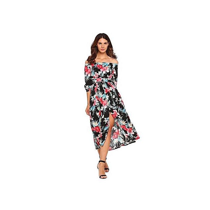 Sunshine femmes 3 4 Sleeve Off-shoulder Bohemia Style Floral Maxi Robe Split Party plage-noir à prix pas cher