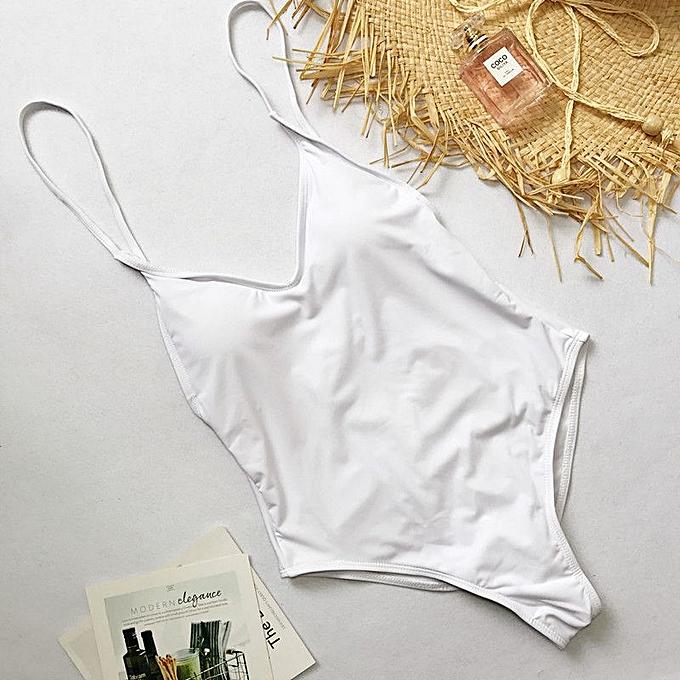 Other nouveau Female Sling Backless One Piece Slim maillot de bain Multi-choice Solid Bathing Suits maillot de bain Padded plagewear(Beige) à prix pas cher