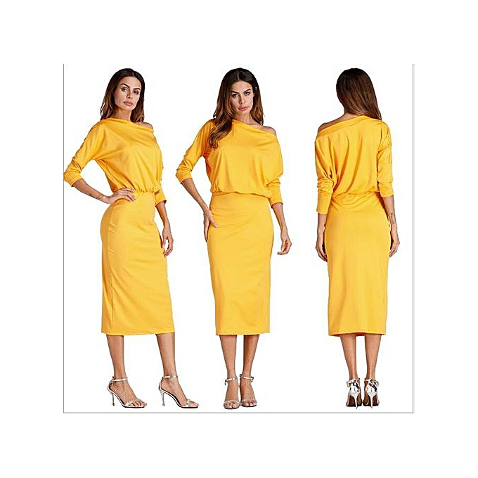 OEM autumn winter femmes mode sexy Inclined shoulder solid Robe bodycon Décontracté nightclub party Robe-jaune à prix pas cher