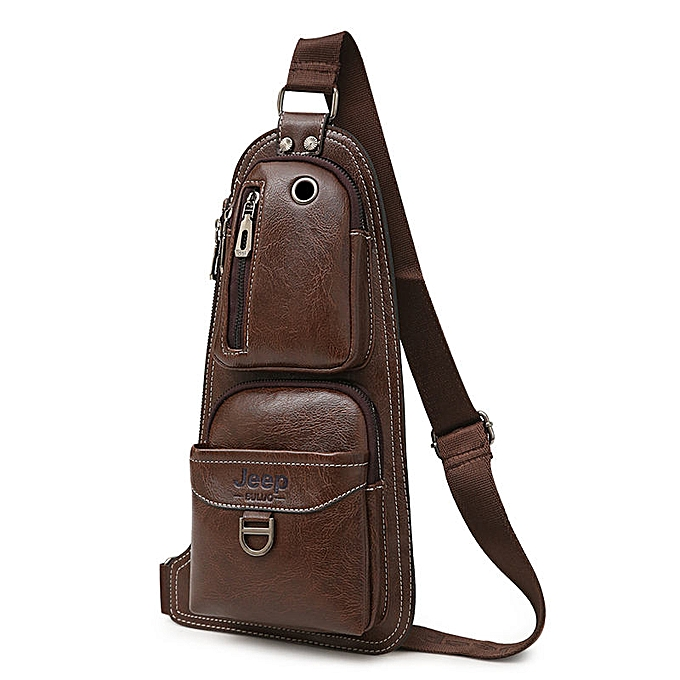 Other JEEP BULUO Brand Men Bags Cross body  New Hot Crossbody Shoulder Bag Famous Brand Man's Leather Sling Chest Bags Fashion Casual(marron 6196) à prix pas cher