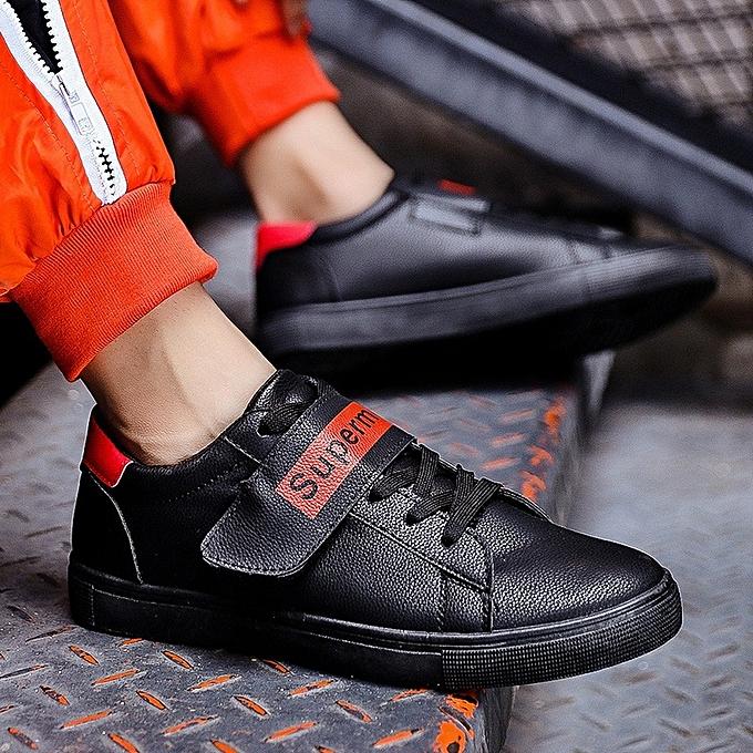 Other Autumn Korean Casual Men's Trend Teen Leather Neakers Sport chaussures -noir à prix pas cher
