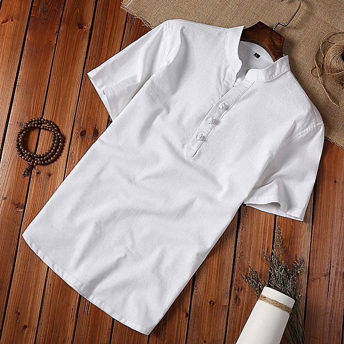 Fashion jiahsyc store Fashion Mens Autumn Winter Button Casual Linen and Cotton Short Sleeve Blouse à prix pas cher