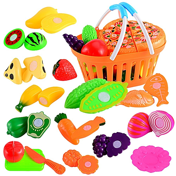 Generic 24Pcs Kids Pretend Role Play Kitchen Fruit Vegetable Food Toy Cutting Set Gift à prix pas cher