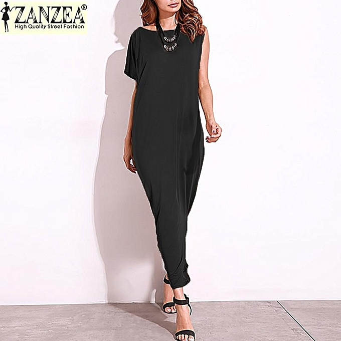 Zanzea ZANZEA  Fashion femmes One Shoulder Darpe Evening Party Long Maxi Dress Off Shoulder Split Patchwork Shirt Dress Ethnic Tops (noir) à prix pas cher