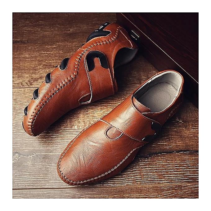 Fashion Fashion   Cow Leather Leather Cow Hook Loop Soft Sole Casual Shoes Loafers-EU à prix pas cher  | Jumia Maroc 4d7531