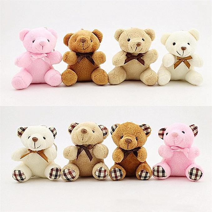 Autre Enfants Toys Stuffed Animals Fluffy Bow cravate Bear 8CM Teddy Bear Cute Plush Toys sac Keychaîne voiture Key Holder For pendentif Doll(BR2) à prix pas cher