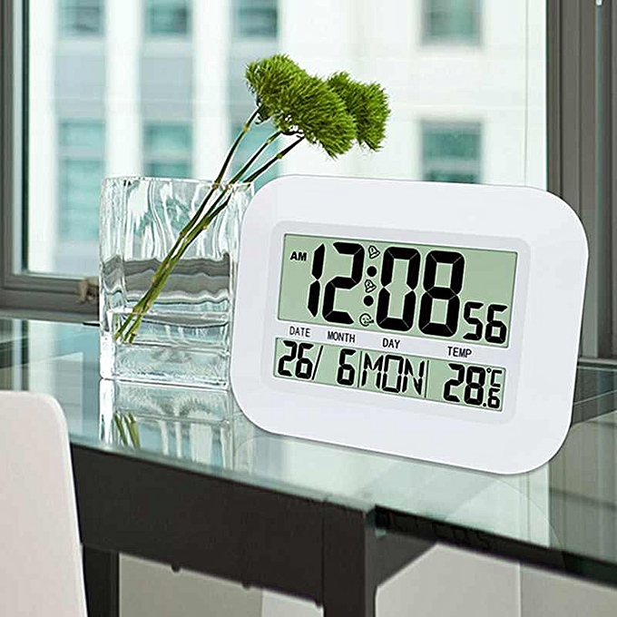 Other Home blanc Clock Digital LED Alarm Calendar Thermometer Date Table Clock (blanc) FCJMALL à prix pas cher