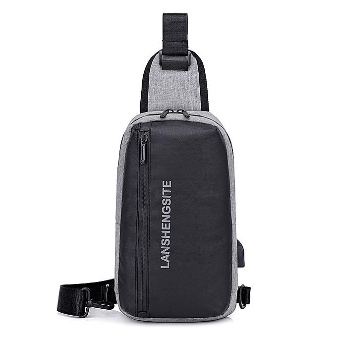 Other USB Anti-theft Buckle Design High Capacity Chest Bag Men Crossbody Bag Suit For Pad Water Repellent Shoulder Bag 2019 Trave Bag(gris Bag) à prix pas cher