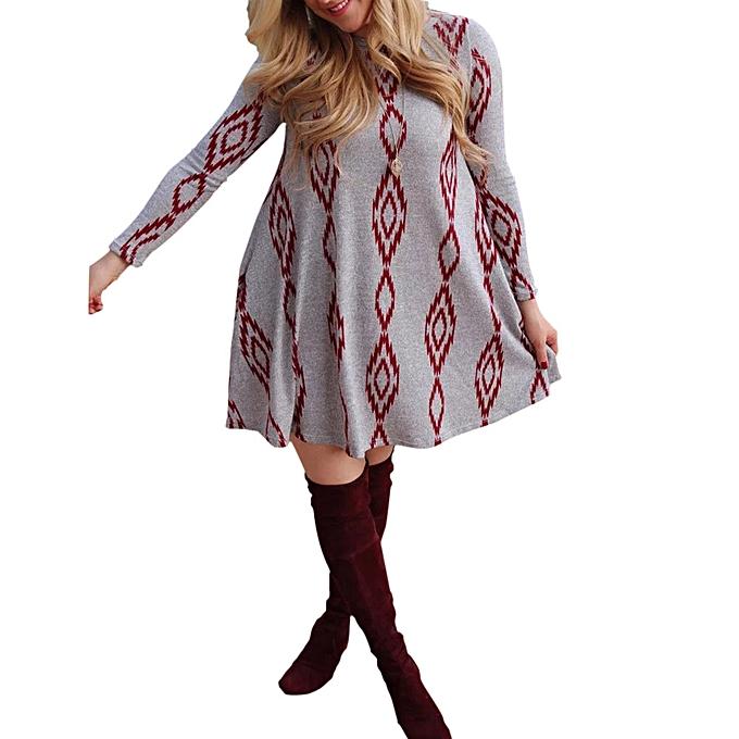 mode femmes O Neck Décontracté Printed manche longue Above Knee Robe Loose Party Robe à prix pas cher
