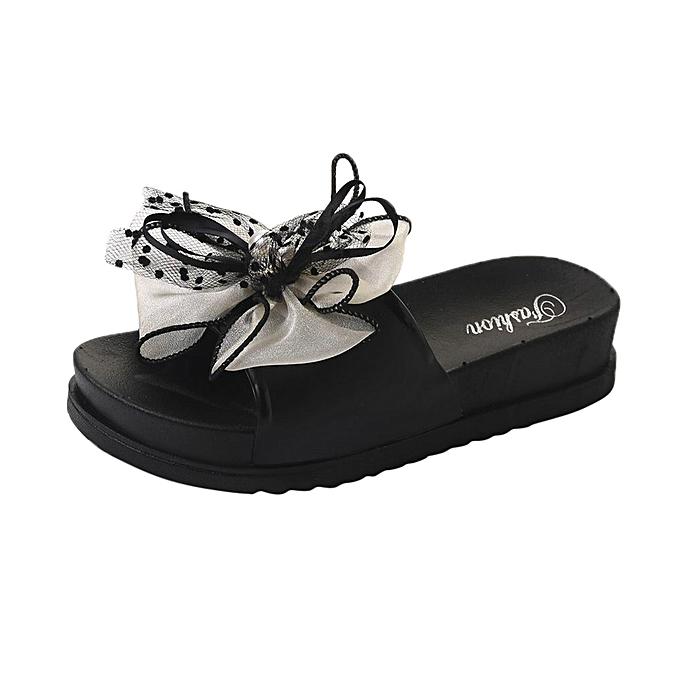 Fashion (Xiuxingzi) Ladies Summer Beach Lace Platform Slippers Casual Wedge Sandals femmes chaussures à prix pas cher