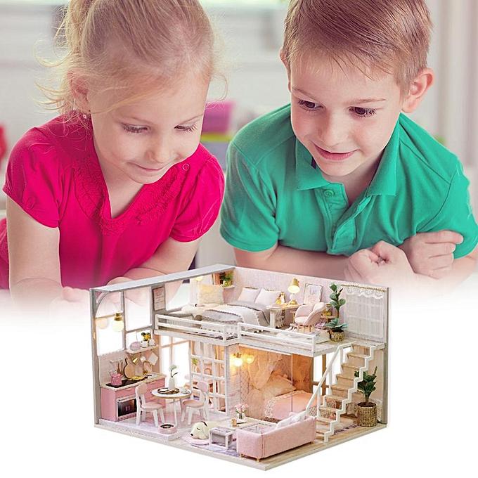 Autre Réunion amour à la main en bois maison de poupée miniature modèle de jouet de maison de poupée bricolage avec meubles à prix pas cher