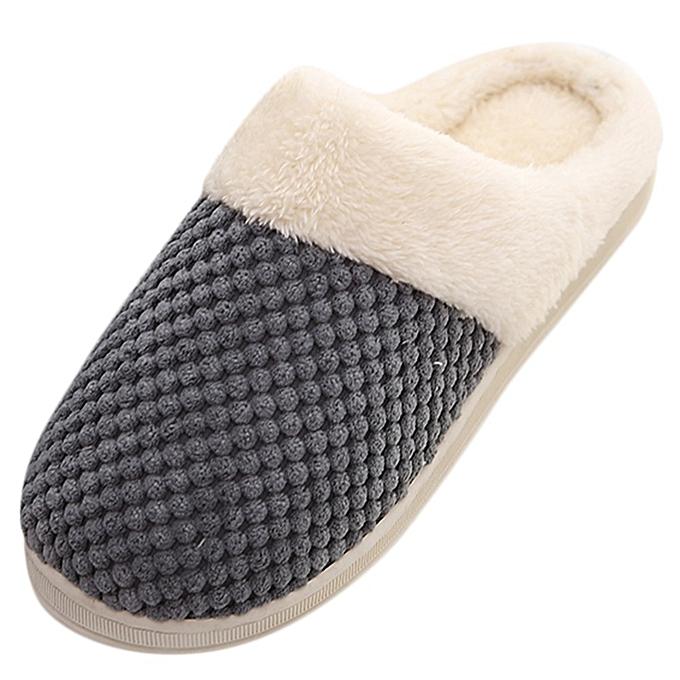 Fashion (Xiuxingzi) Men Warm Home Plush Soft Slippers IndoorsAnti-slip Winter Floor Bedroom chaussures à prix pas cher    Jumia Maroc