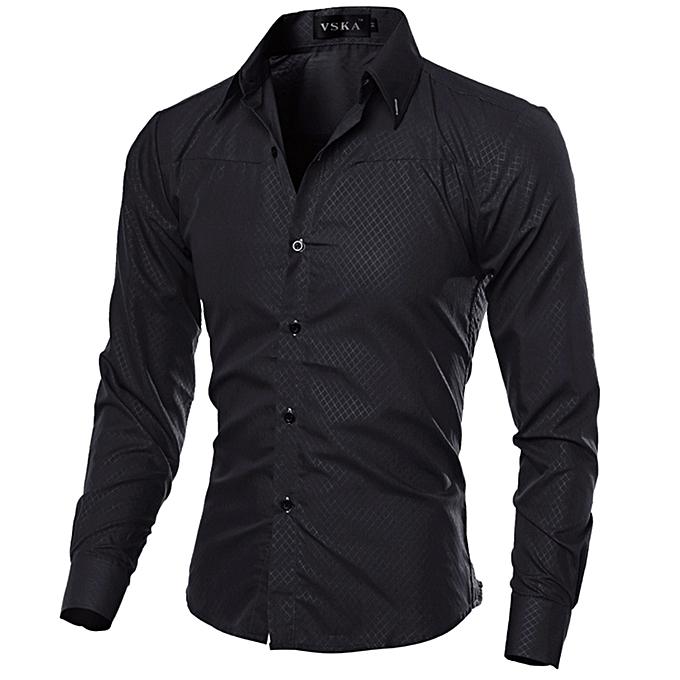 Other nouveau mode Taille M-5XL Hommes& 039;s Slim Fit chemisier Décontracté manche longue Shirt -noir à prix pas cher