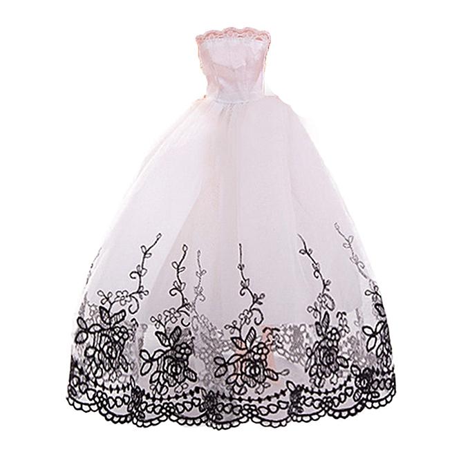 Generic 8PC Pure  Wedding Dress For dolls skirt Evening Party Clothes For  Dolls à prix pas cher