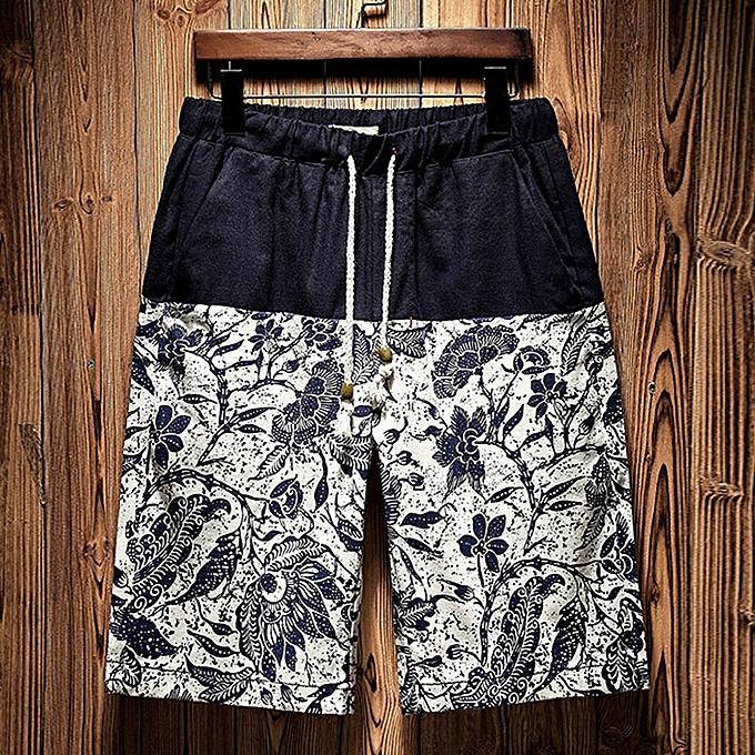 Fashion jiahsyc store Men's New Summer Casual Ethnic Style Printed Loose Cotton Hemp Beach Shorts Pant à prix pas cher