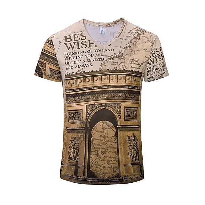 mode Pour des hommes été Personalized Retro impression V-neck Décontracté Soft T-shirt hauts à prix pas cher