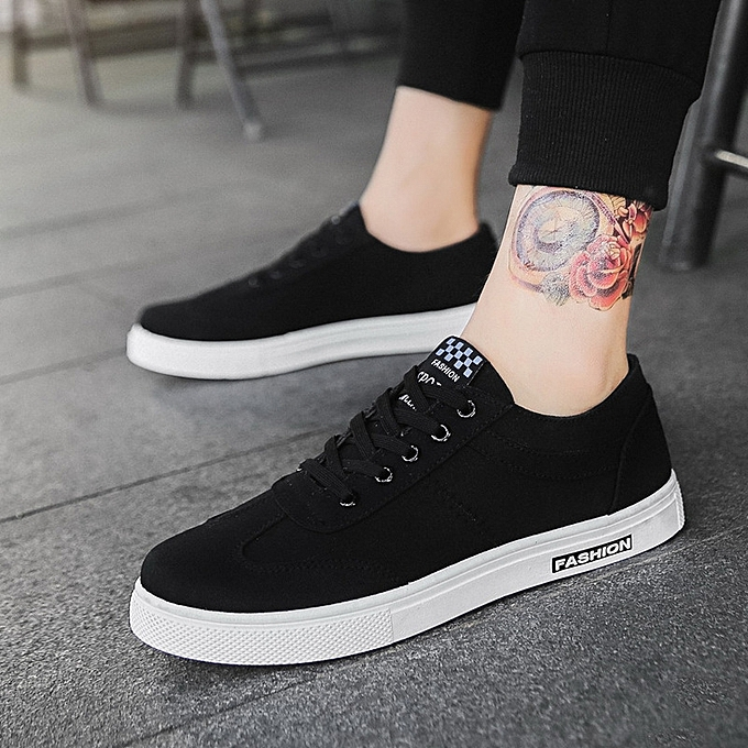 OEM New hommes breathable casual chaussures canvas chaussures blanc chaussures male student chaussures Korean plate chaussures-noir à prix pas cher    Jumia Maroc