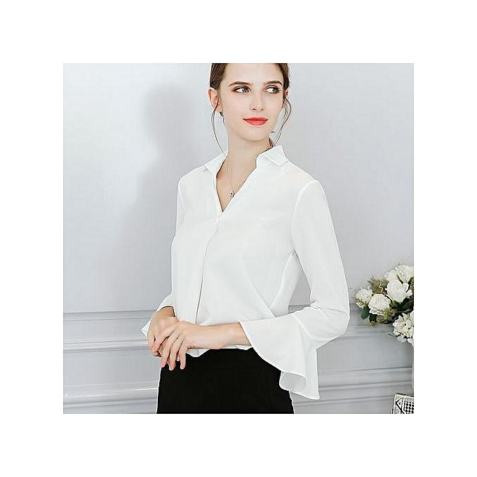 Generic New femmes large Taille fashion wild casual solid Couleur trend slim shirt-blanc à prix pas cher