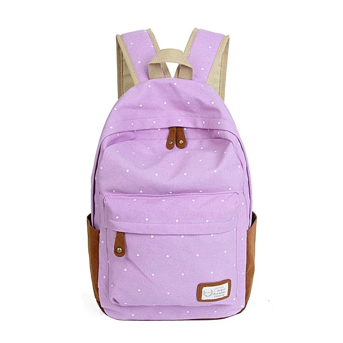 mode Tcetoctre Double-Shoulder Girls toile Dots Schoolsac Students sac à doss L PP-lumière violet à prix pas cher