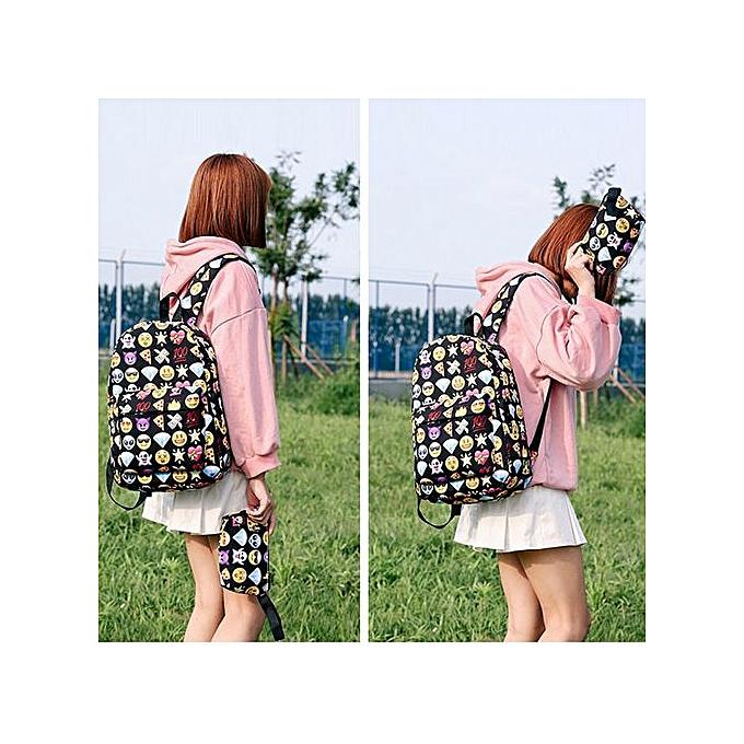 Generic Tectores Fashion Accessories Unisex Print Emoticon Two Piece Set Handbag Shoulder Bag Backpack Zipper Bag à prix pas cher