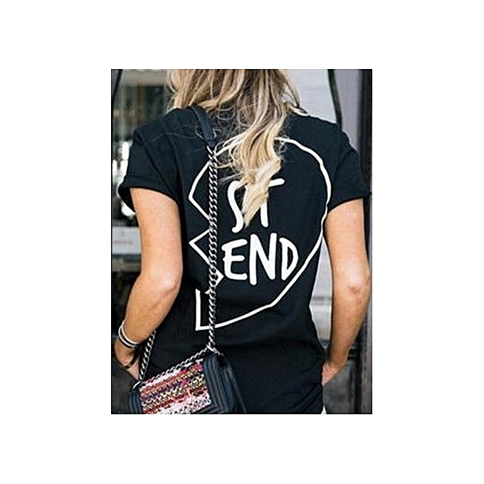 Other Lady& 039;s Round Collar courte-sleeved Best Friend Printed T-shirts-noir-END à prix pas cher