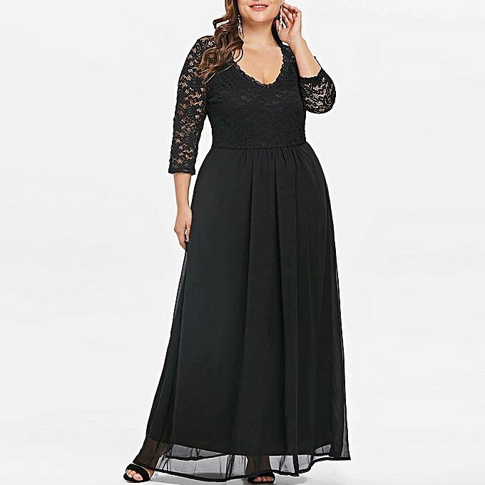 mode quanxinhshang femmes Plus Taille Sweetheart Neck Lace Panel Long Party Maxi Robe à prix pas cher