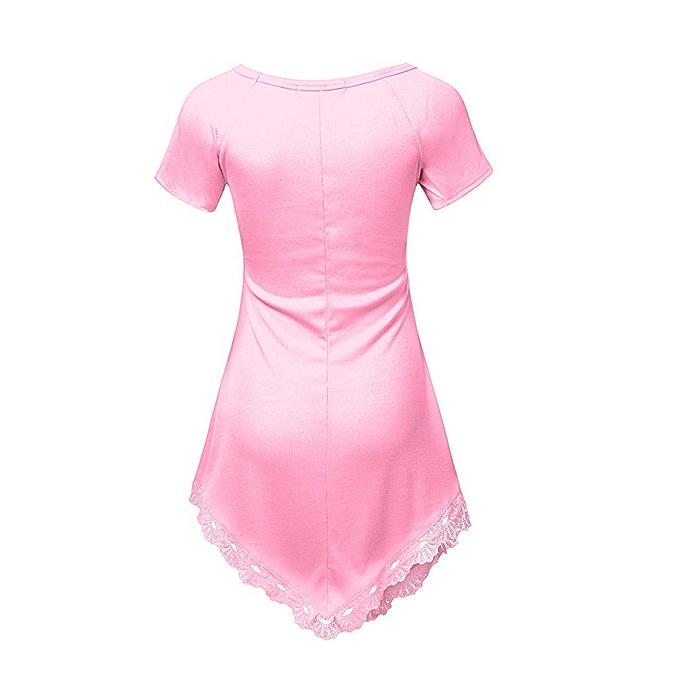 Fashion Plus Taille Summer femmes Short Sleeve Lace T-Shirt Casual Blouse Shirt Tops à prix pas cher