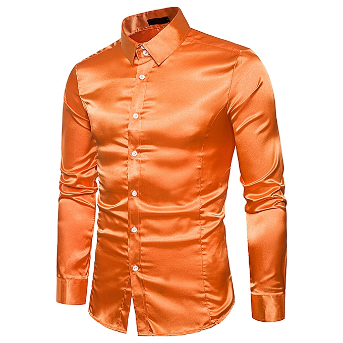 mode mode Personality Hommes& 039;s Décontracté Slim Long-sleeved Shirt Top chemisier - Orange à prix pas cher