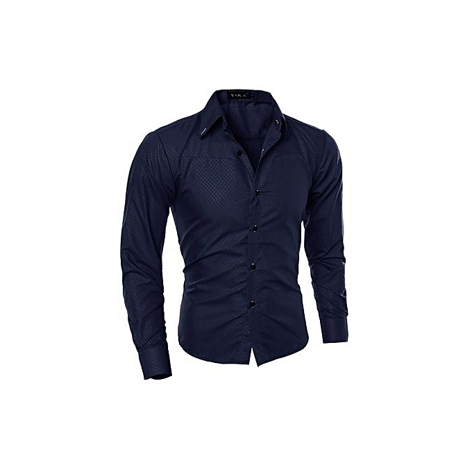 Generic Refined US Taille XS-L High Quality Men Fashion Brand Gentleman Style Dark Striped Long Sleeve Shirts Blouses-Navy bleu à prix pas cher