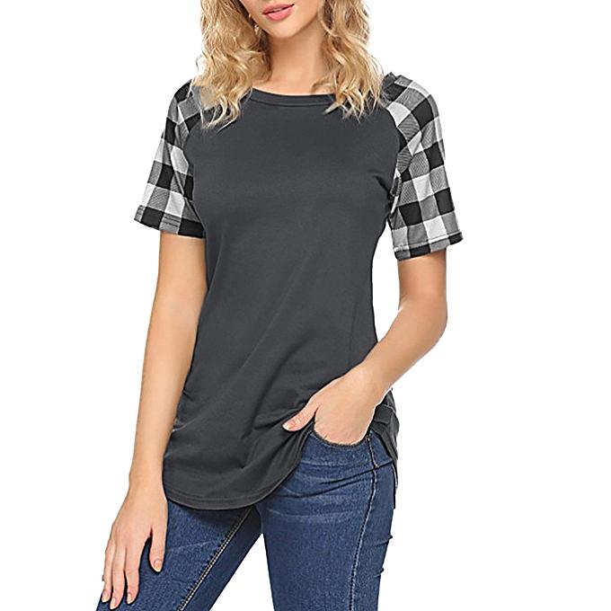 Generic Generic Fashion femmes Ladies Short Sleeve Plaid Patchwork Blouse Tops Clothes T Shirt A1 à prix pas cher