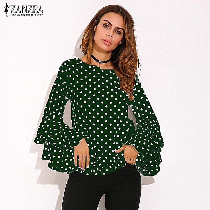 Zanzea ZANZEA femmes Flouncing Ruffled Long Sleeves Summer Autumn Polka Dot Butterfly Sleeve Loose Casual Tops Blouse Plus Taille vert à prix pas cher