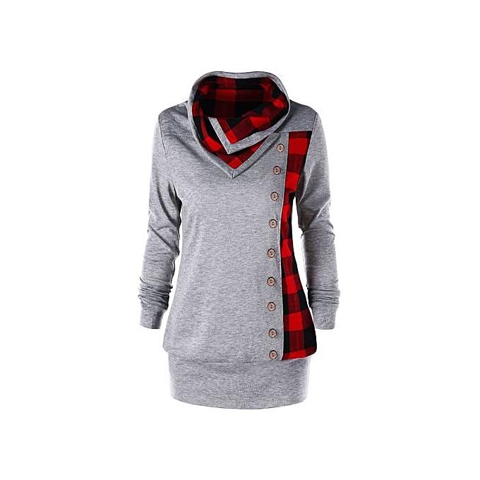mode Hiamok mode femmes Turn-Down Collar Button Plaid Patchwork Sweatshirt Top chemisier à prix pas cher