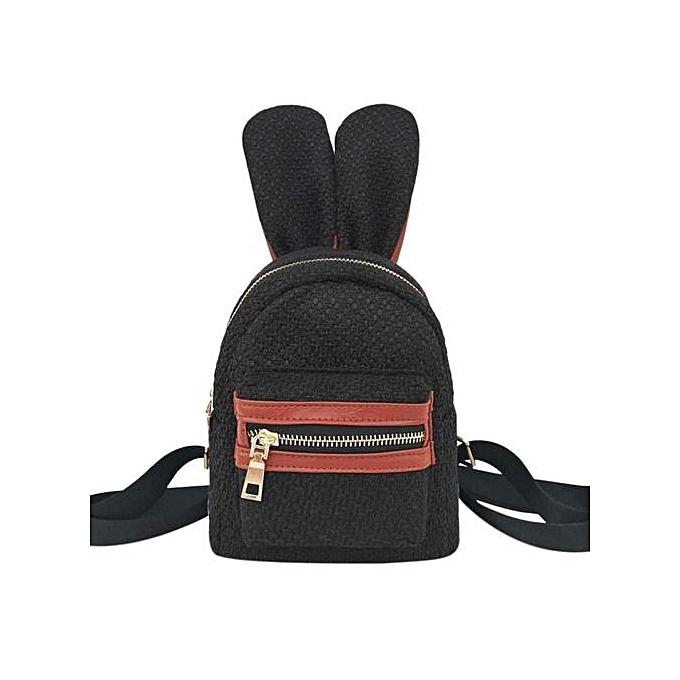 Generic Cute voituretoon Rabbit Ears paille sac à dos femmes Mini Girls Shoulder Schoolsac à prix pas cher